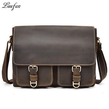 Men's Vintage Crazy Horse Leather shoulder bag flap genuine leather messenger bag cowhide briefcase laptop casual work bag