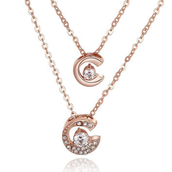 Rose Gold Plated Duo-Crescent Crystal Necklace