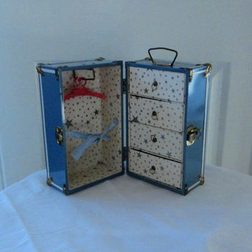 Vintage Doll Wardrobe Trunk Blue Metal 4 Drawers & Hanging Rod