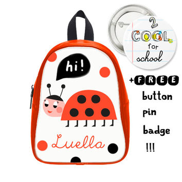 Ladybug Personalized Schoolbag + FREE pin button - Ladybird Backpack - Custom Made For Girls -Toddler Daysack with Name & Cute Lady Beetle