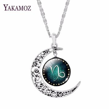 Fashion Silver Plated Crescent Pendant Necklaces Jewelry Zodiac Statement Necklaces For Women Cabochon Glass Necklaces Collares