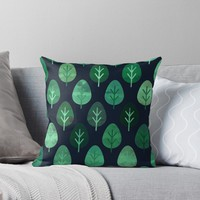 'Watercolor Forest Pattern #9' Throw Pillow by Amir Faysal
