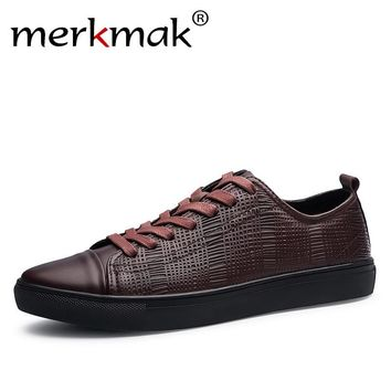 Merkmak 2017 New Fashion Men Genuine Leather Shoes Leisure Male Casual Leather Oxford Shoes Comfortable Man Soft Driving Flats