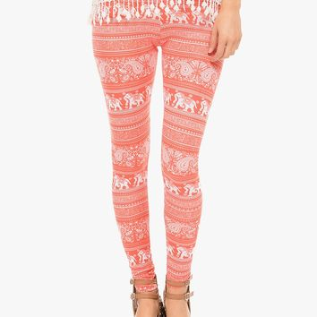 Orange Ellie Parade Mix Print Leggings | $10.00 | Cheap Trendy Leggings Chic Discount Fashion for Wo