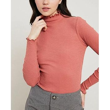 long sleeve ribbed mock neck knit top - brick