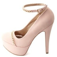 Chain-Topped Ankle Strap Platform Pumps by Charlotte Russe