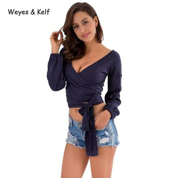 Weye & Kelf autumn V neck puff Long sleeve Crop Top T shirt women Elegant bow Tops womens blue summer wrap casual Tee Tops 2018