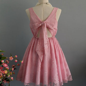 A Party V - Lolita Dress Mauve Pink Lace Bow Back Dress Prom Party Dress Pink Bridesmaid Dresses Cocktail Dress Lace Party Dress XS-XL