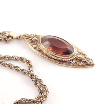 Vintage Whiting Davis Citrine Necklace with Nouveau Design - Whiting Davis Necklace - Whiting Davis Jewelry - Gold Whiting Davis Necklace