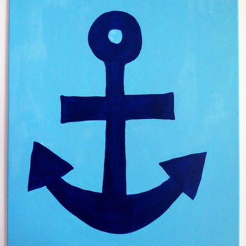 Hand-Painted Anchor Canvas (16x20)
