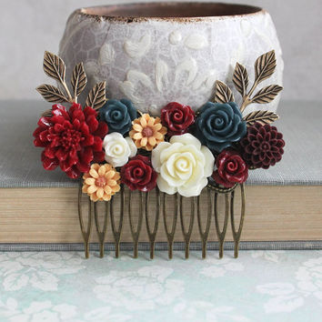Cranberry Red Bridal Hair Comb Autumn Wedding Golden Yellow Daisy Navy Blue Rose Comb Rustic Floral Collage Bridesmaids Gift Fall Colors
