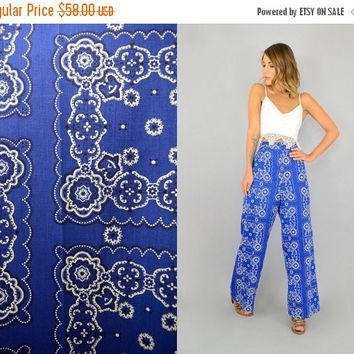 FALL SALE 70's Blue Bandana Trousers