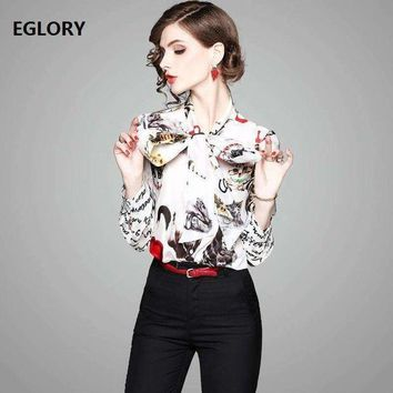 ONETOW Letter Print Shirts New Casual Blouse 2018 Spring Summer Women Bow Tie Cute Cat Prints Long Sleeve 100%Silk Shirt Blouses