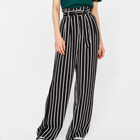 Wide-leg pants with belt - Pants - Bershka United States