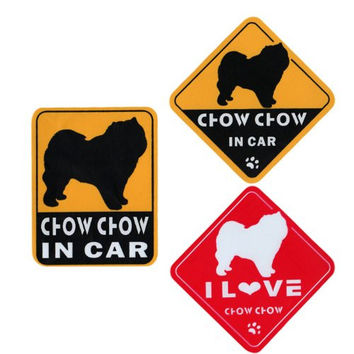 """I Love Chow Chow"" Dog in Car Bumper Stickers (3 Decal Pack)"
