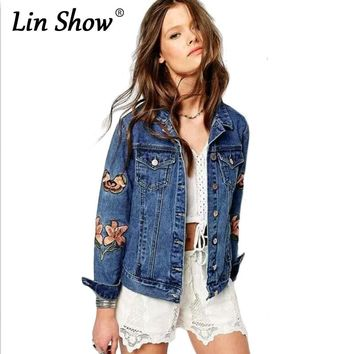 LINSHOW Women Denim Jackets Letter Embroidered Pockets Button Outwear Ladies Bomber Jackets Long Sleeve Lapel Autumn Jeans Coats