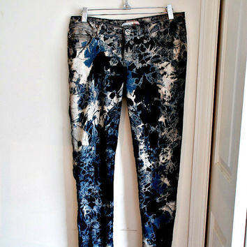 hand dyed rocker/hippy/acid wash 80s jeans. skinny OOAK.