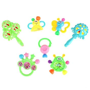 7pcs set Plastic Hand Jingle Shaking Bell Baby Rattles Toys Newborn Baby Teeth Teether Toy Baby Kids Grasp Music Rattles Toy