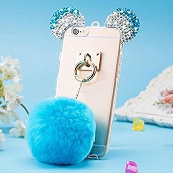 Iphone 6/6s Case,Jesiya Super Cute 3D Crystal Shiny Diamond Gradient Bear/Mouse Ears With Fur Hair Plush Ball Tassel Case Cover For Iphone 6/6s 4.7""