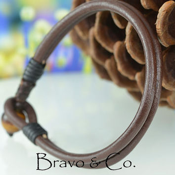 B-056 Finely Made Genuine Leather Tiger's Eye Stone Sport Men Leather Bracelet.