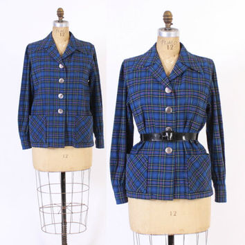 Vintage 50s 49er JACKET / 1950s Blue Plaid Wool Lightweight Blazer L