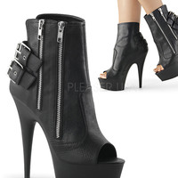 Double Zipper-Double Buckle Ankle Boot 6 Inch Heel