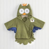 My Little Night Owl Hooded Terry Spa Robe Green Personalization Available