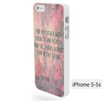 Vc 76 Handmade Finely Printed- Proverbs 31 25 She Is Clothed Bible Verse -Hard Plastic Framed White Fit for Iphone 5/5s