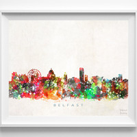 Belfast Skyline, Ireland Print, Belfast Poster, Cityscape, Bedroom Decor, Watercolor Painting, Wall Art, City Art, Christmas Gift