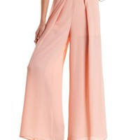 Coral High-Waisted Pleated Palazzo Pants by Charlotte Russe