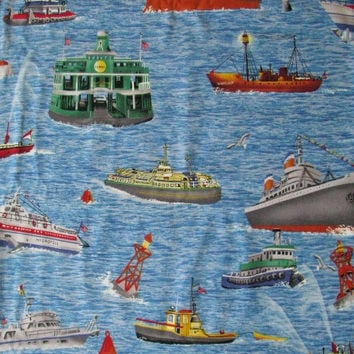 "Boats Fabric Harbor Boats Ferry Cruise Ship Tugboat Fishing Large print 42-43"" Wide by the yard"