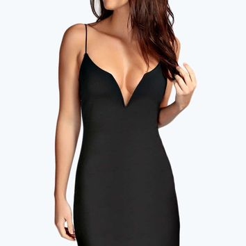 Joy Plunge Neck Strappy Bodycon Dress