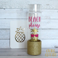 Beach Please - Pineapple // Glitter Dipped Water Bottle