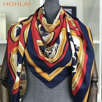 Poncho Silk New Scarf Women Luxury Brand Foulard Hijab Square Scarves Fashion Horse Print Wraps Colorful Bandana Shawl 130*130