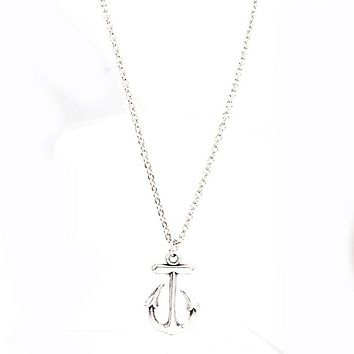 Cute Anchor Silver Pendant Bib Necklace