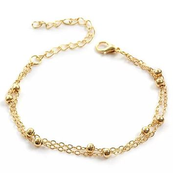 Layered Satellite Chain Anklet