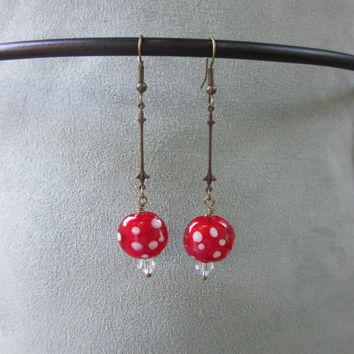 Dangle Earrings   Wilma Flinstone Red Dot  - Brass Filigree Brass Fleu- De-Lis and Red Ceramic Dot Beads