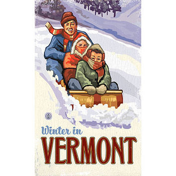 Personalized Winter In Vermont Wood Sign