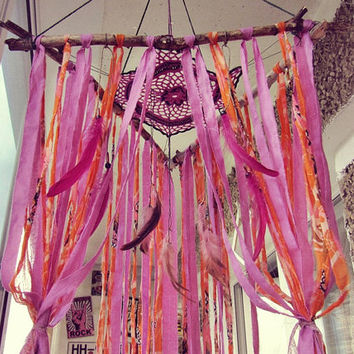 Hippie Patio Tent Canopy - Boho Outdoor Wind Chime Decoration - Bohemian Dreamcatcher Mobile - Rustic Driftwood Decor - Made to Order