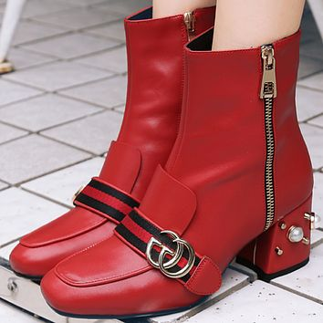 GUCCI new style square head pearl thick heel female boots fashion side zipper Martin boots red