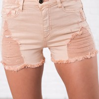 Roughed Up High Rise Distressed Shorts (Apricot)