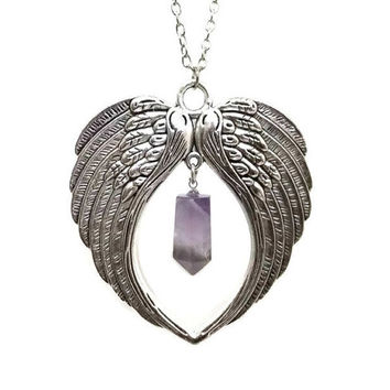 Large Antique Silver Angel Wing and Amethyst Necklace, Protection Necklace, Boho Necklace, Angel Wing Necklace, Valkyrie Wings, Heart Wings