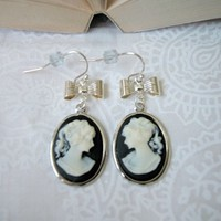 Silver Cameo Drop Earrings with Bow Black and Ivory Lady French Wires