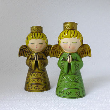 Pair Angel Candle Holders, Vintage Christmas, Ardco Angels, Green and Gold Holiday Decor, Angel Figurines, Taper Candlesticks