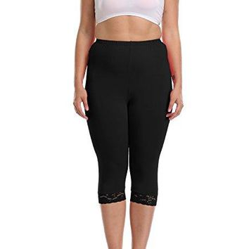 Artter Womens Capri Leggings Plus Size Lace Trim Solid Color Soft Legging