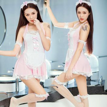 Sexy Lingerie Hot Costumes Lolita Lovely Maid service Women Dresses Uniform Outfit Sexy Babydolls Underwear Nightgowns Sleepwear