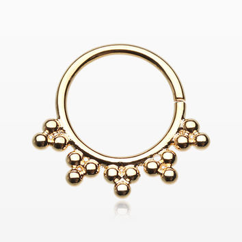 Golden Gaia Spherule Septum Twist Loop Ring