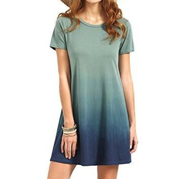 Women's Swing T-Shirt Dress Tunic Short Sleeve Tie Dye Ombre Dress