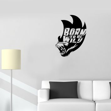 Wall Decal Wild Animals Nature Monkey Head Inscription Vinyl Sticker (ed1030)