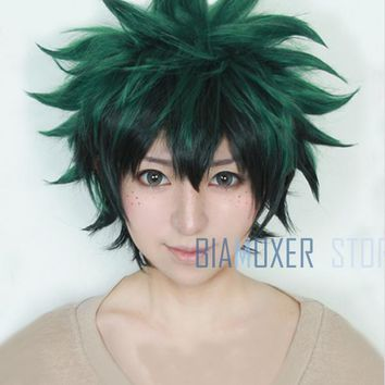 Biamoxer My Boku no Hero Academia Izuku Midoriya Short Green Black Heat Resistant Cosplay Costume Wig